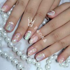 尖形新娘日式蓝色粉色裸色贝壳珍珠金箔贝壳美甲图片