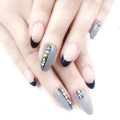 尖形黑色灰色法式钻金属饰品美甲图片