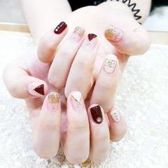 方圆形红色金色金银线钻法式新娘甜蜜新娘甲美甲图片