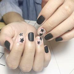 方圆形简约手绘黑色白色裸色磨砂星星美甲图片