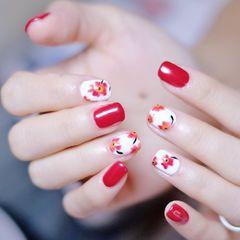 圆形简约手绘红色黄色白色花朵新娘花卉 不定时发图 有自己的有网上收集的 喜欢记得关注我哟~美甲图片