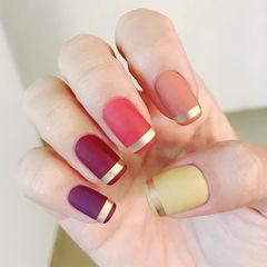 方圆形红色紫色裸色绿色金银线磨砂跳色美甲图片