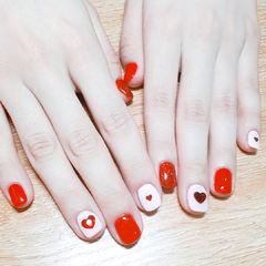 方圆形红色白色心形钻新娘红色美甲心形美甲美甲图片