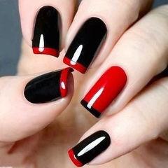 方圆形红色黑色法式简约红色美甲美甲图片