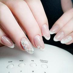 圆形白色法式手绘花朵新娘简约日式钻花朵美甲伴娘美甲美甲图片