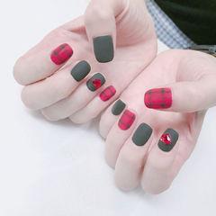 方圆形红色黑色格纹钻心形磨砂磨砂美甲美甲图片