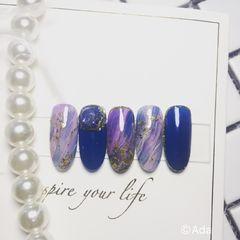 尖形紫色蓝色晕染金箔美甲图片