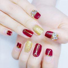方圆形红色金色钻金银线新娘金色美甲美甲图片
