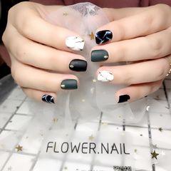 方圆形简约韩式绿色黑色白色手绘石纹磨砂达人FLOWER美甲图片