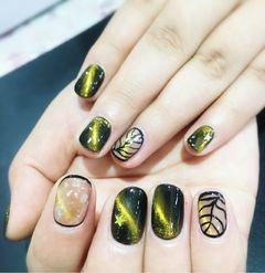 方圆形日式手绘绿色金色黑色猫眼包边猫眼美甲图片
