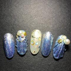 圆形简约可爱蓝色银色白色贝壳珍珠贝壳美甲美甲图片