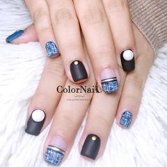方圆形简约日式蓝色黑色金银线毛呢磨砂平法式珍珠美甲图片