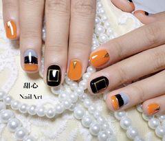 方圆形黑色橙色灰色金银线金属饰品美甲图片