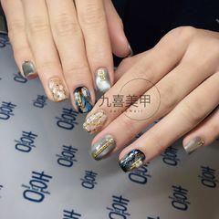方圆形日式手绘蓝色贝壳片金属饰品珍珠晶石美甲图片