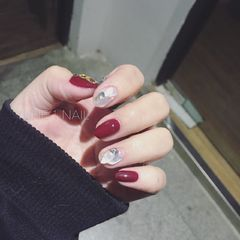 圆形简约日式红色贝壳片给自己做个款美甲图片