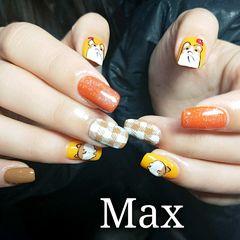 可爱手绘方圆形黄色橙色小狗格纹狗年美甲图片