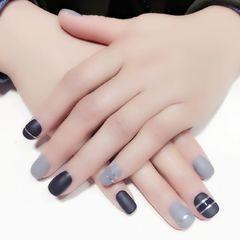 方圆形简约银色黑色灰色达人歇脚客珍珍美甲图片