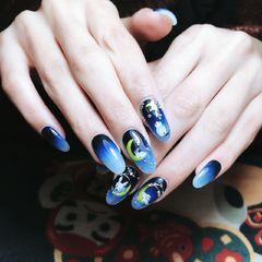 尖形手绘渐变蓝色可爱兔子练手绘,喜欢可以多关注我!美甲图片