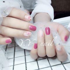 方圆形日式手绘豆沙色粉色晕染贝壳片豆沙色,晕染,贝壳片,亮片装饰美甲图片