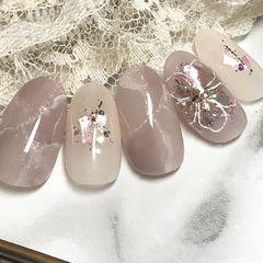 方圆形新娘日式粉色白色灰色裸色手绘晕染石纹贝壳片大理石美甲美甲图片