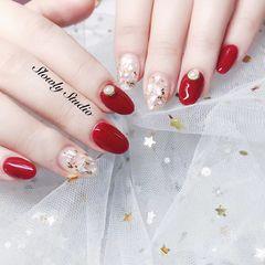 日式红色白色圆形贝壳片金箔珍珠新娘美甲图片