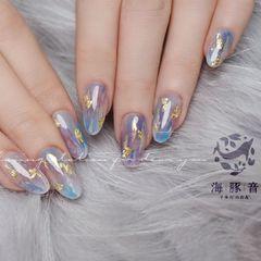 尖形简约日式蓝色粉色晕染金箔美甲图片