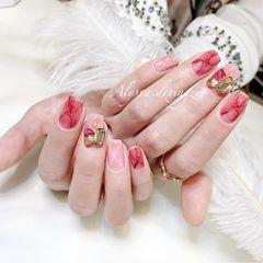 方圆形日式手绘红色粉色晕染石纹钻血色石纹晕染!❤️美甲图片