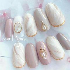 圆形粉色裸色晕染石纹珍珠日式晕染美甲奈奈美社学院小黑美甲图片