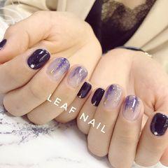 圆形简约日式蓝色紫色银色晕染美甲图片