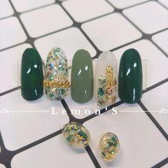圆形简约日式绿色金色白色贝壳片金属饰品美甲图片