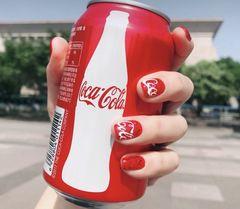 方圆形红色夏天可乐可乐美甲美甲图片