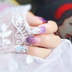 圆形日式渐变蓝色紫色白色贝壳贝壳片钻魔盒猫眼紫美甲图片