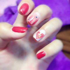方圆形简约可爱红色白色裸色手绘心形金箔达人荣荣的指甲美甲图片