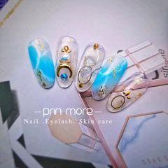 圆形简约日式蓝色白色手绘夏天海洋金属饰品美甲图片