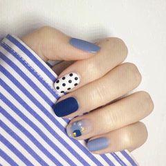 方圆形日式蓝色黑色白色波点磨砂美甲图片