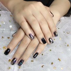 方形日式韩式黑色金箔晕染晕染美甲图片
