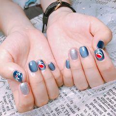 方圆形手绘蓝色银色夏天猫眼可乐美甲图片
