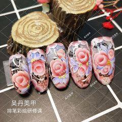 圆形手绘红色粉色黑色花朵日式美甲图片