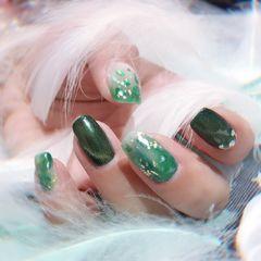 方圆形日式手绘绿色白色猫眼晕染贝壳片金箔绿色猫眼胶跳色晕染贴贝壳金箔纸美甲图片