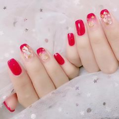 方圆形简约渐变红色贝壳片金箔星月新娘甜蜜新娘甲情人节美甲星月美甲美甲图片