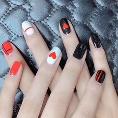 方圆形黑色白色红色手绘心形线条手绘美甲美甲图片