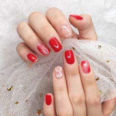方圆形简约红色金色贝壳片金箔新娘美甲图片