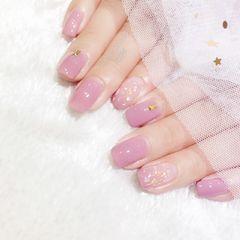 方圆形日式粉色裸色贝壳片金箔简约上班族美甲图片
