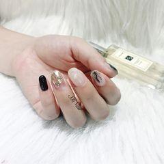 方圆形日式黑色白色裸色晕染贝壳片简约晕染 贝壳片 玻璃片美甲图片
