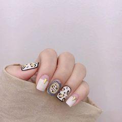 方圆形日式手绘金色黑色白色豹纹磨砂平法式美甲图片