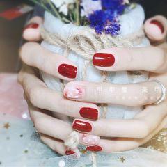 方圆形简约日式红色粉色白色贝壳片新娘显白美甲图片