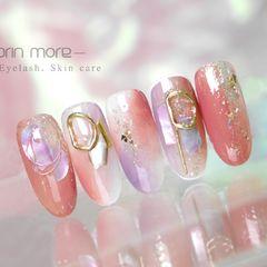 日式圆形粉色紫色贝壳片金属饰品美甲图片