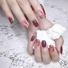 方圆形简约红色晕染金箔新娘本周收藏量最高美甲图片