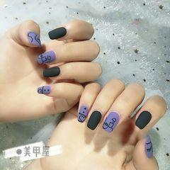 方圆形手绘紫色黑色磨砂可爱美甲图片