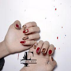 酒红色黑色棕色圆形豹纹钻日式手绘美甲图片